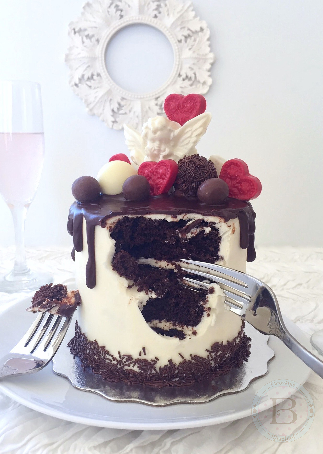 Chocolate Lovers' Valentine Drip Cake for Two
