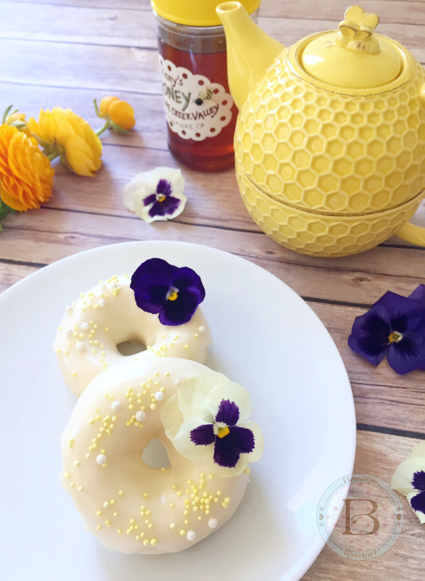 Lemon Buttermilk Donuts with Honey Cream Cheese Frosting by Brownie Mischief