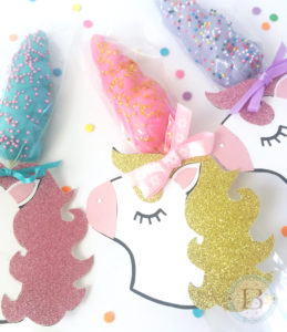 Unicorn Horn Cookie Party Favors by Brownie Mischief
