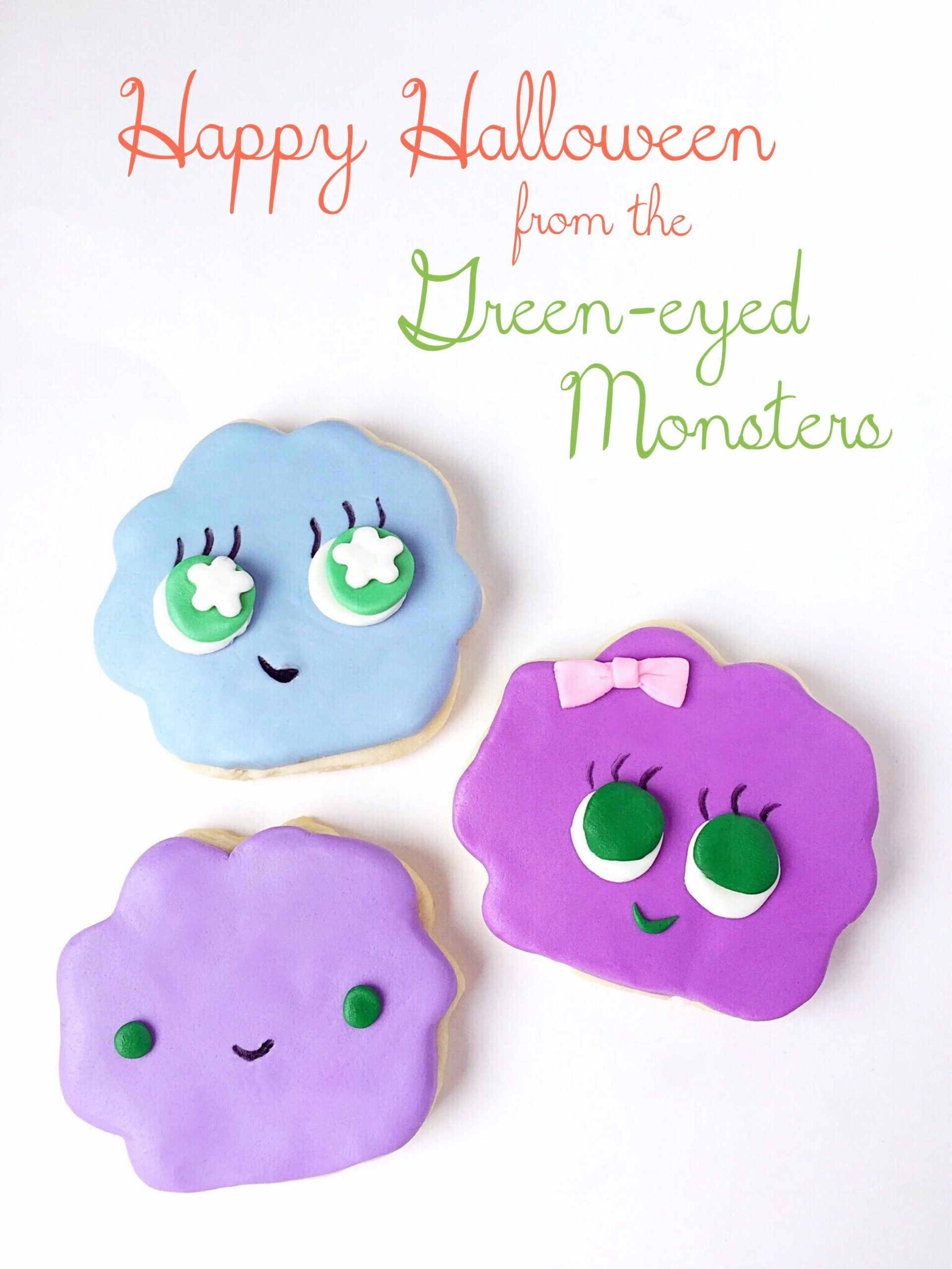 Green-eyed monster Halloween cookies