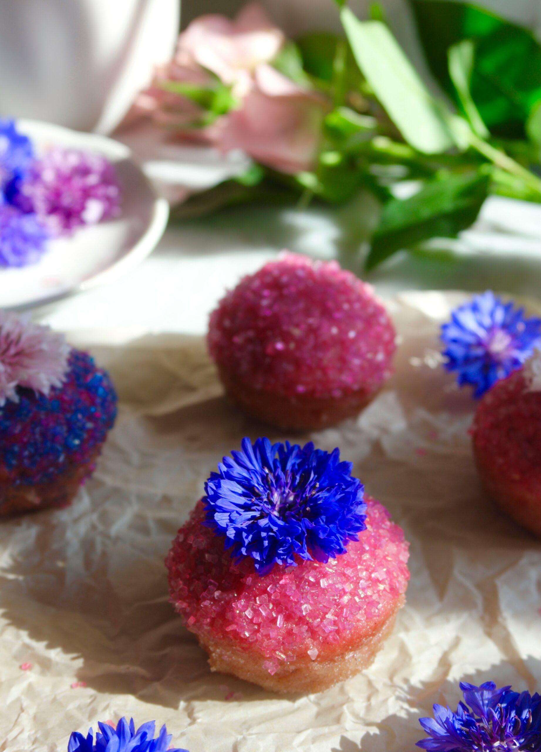 Fairy Puffs sugared mini muffins wtih edible flowers